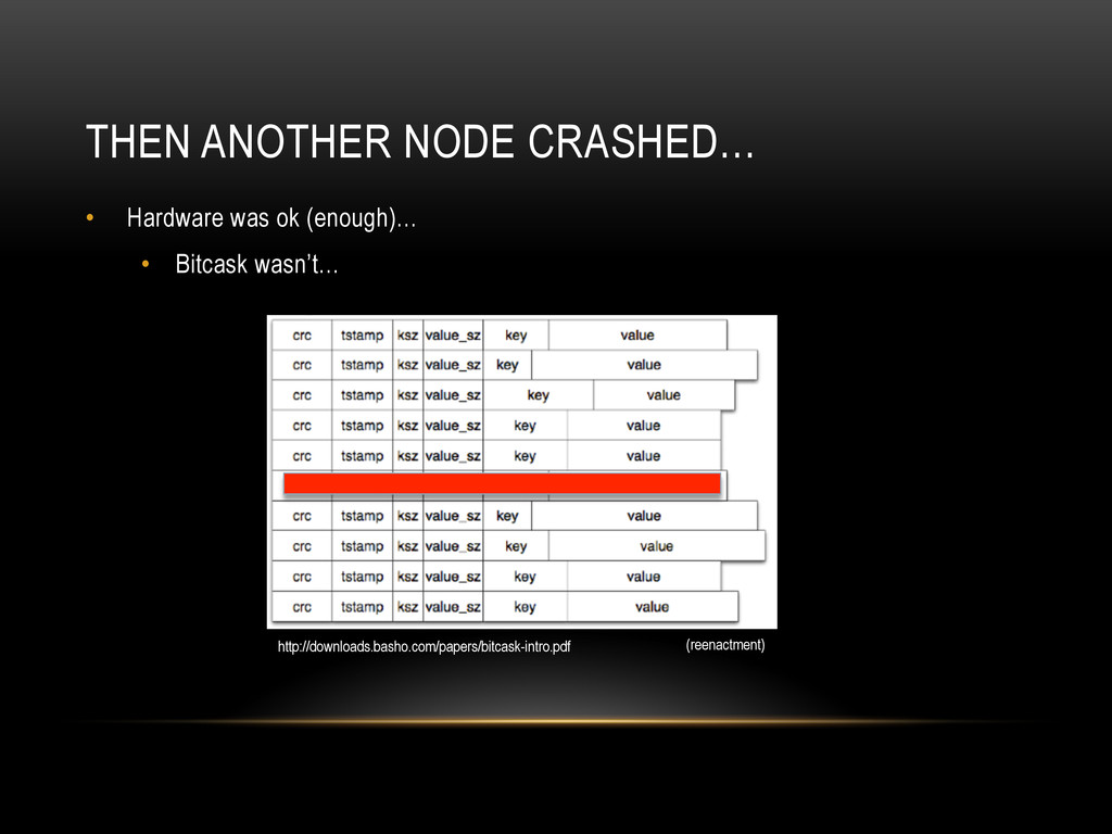 THEN ANOTHER NODE CRASHED… •  Hardware was ok (...