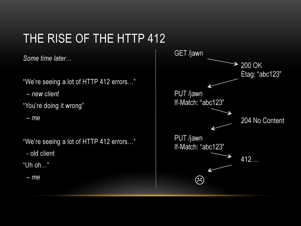 "THE RISE OF THE HTTP 412 Some time later… ""We'r..."