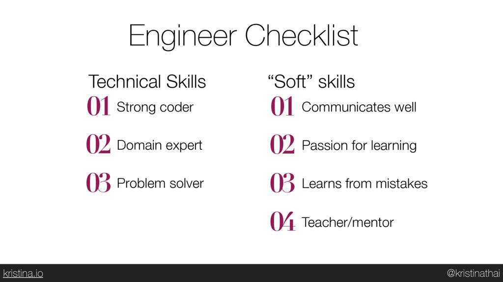 @kristinathai kristina.io Engineer Checklist 01...