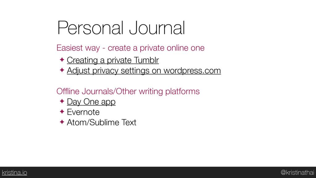 @kristinathai kristina.io Personal Journal Easi...