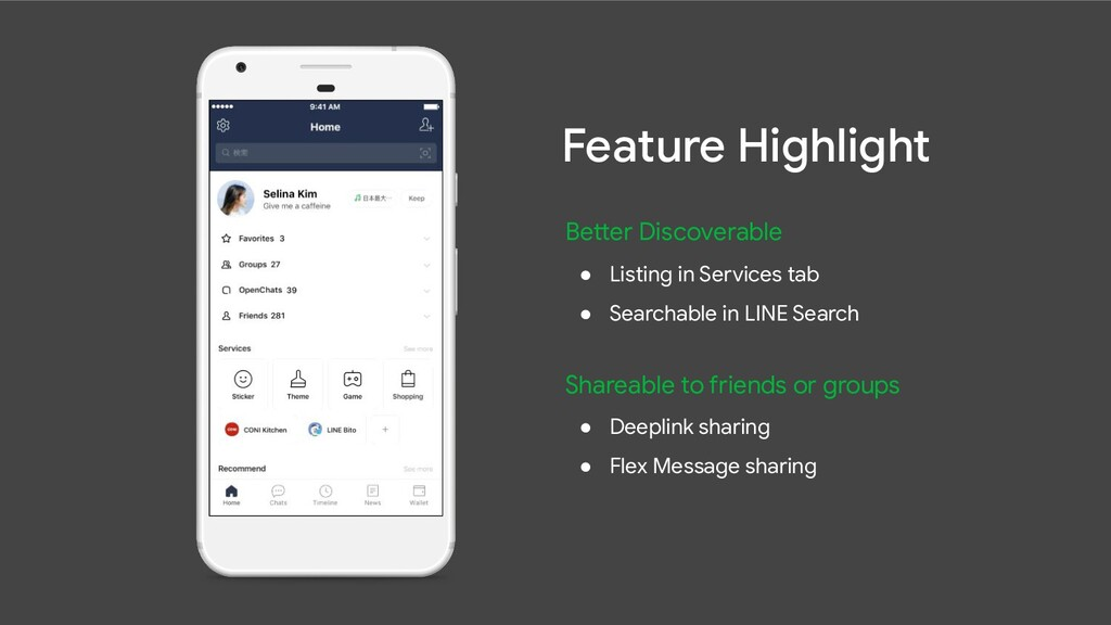 Better Discoverable ● Listing in Services tab ●...