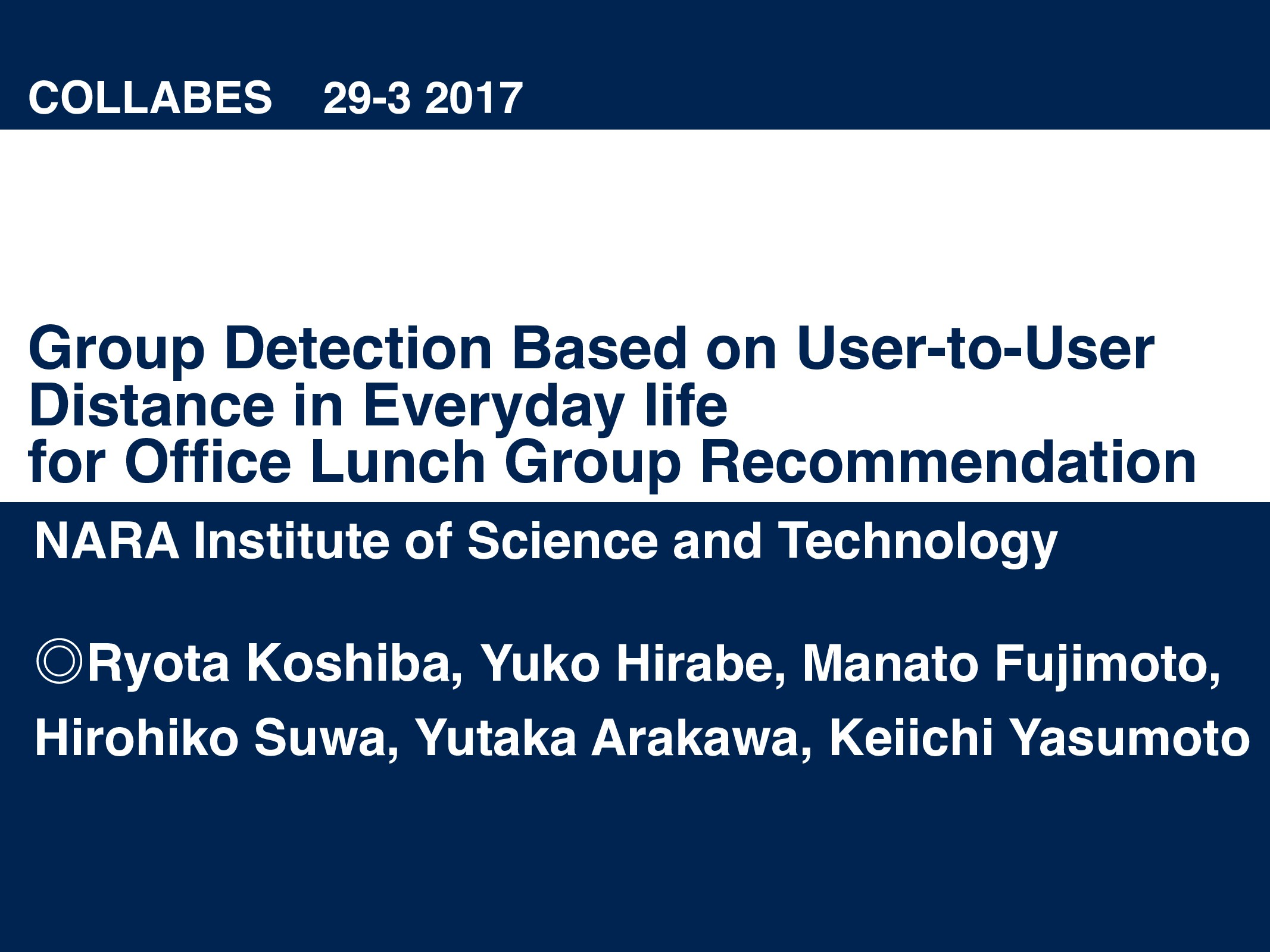 Group Detection Based on User-to-User Distance ...