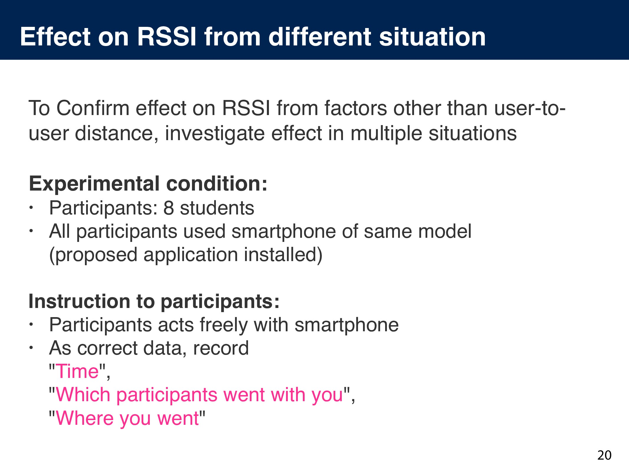 Effect on RSSI from different situation To Confi...