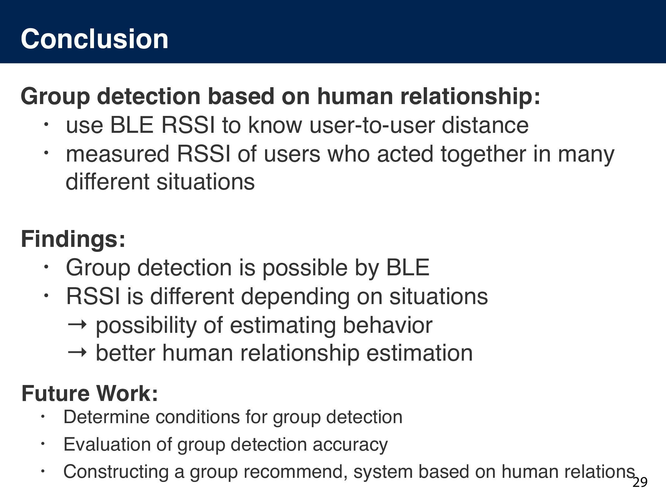 Conclusion Group detection based on human relat...