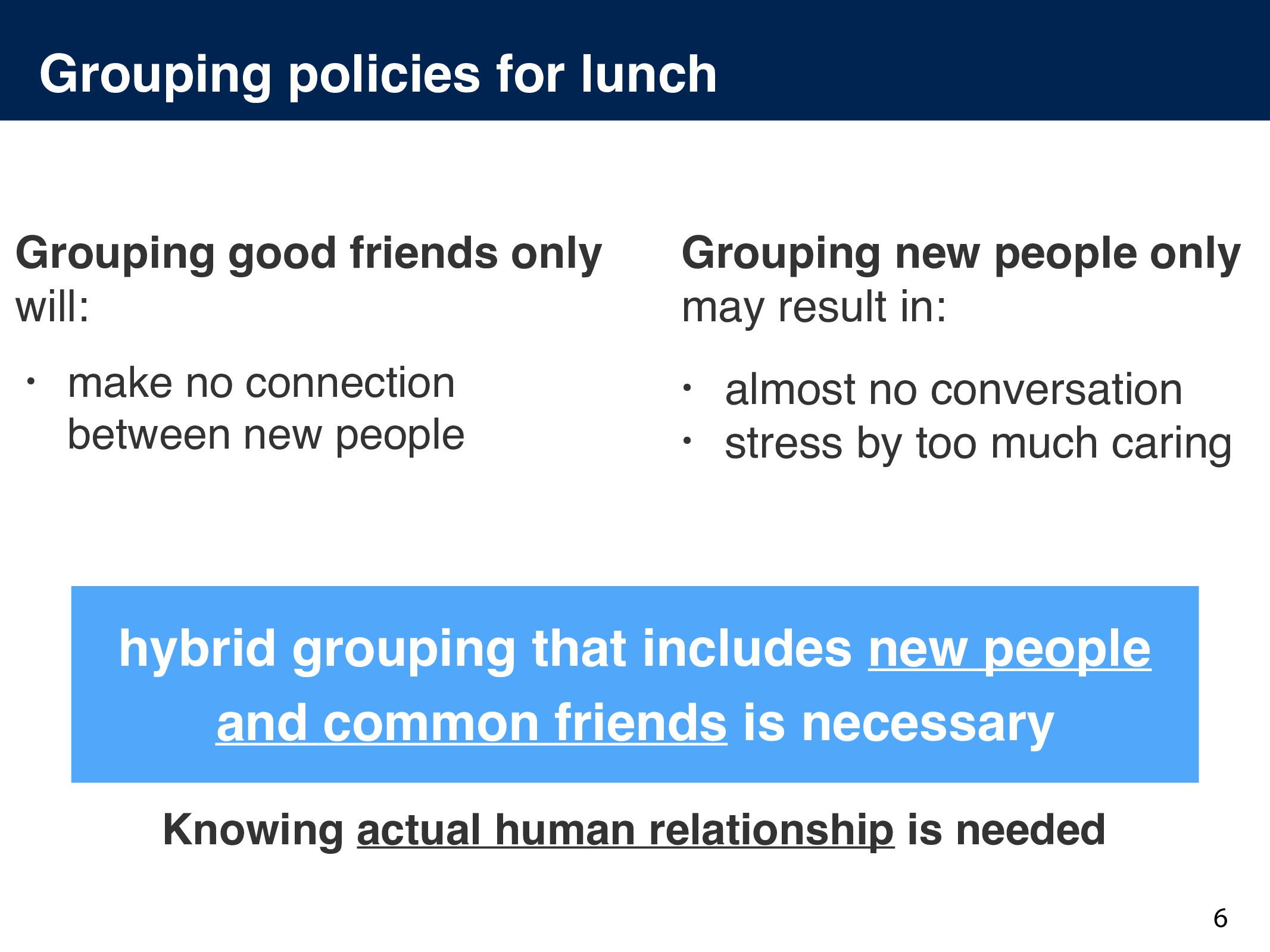 Grouping policies for lunch 6 • almost no conve...