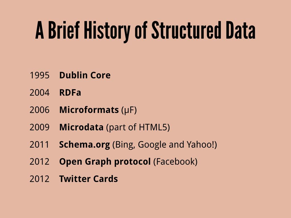 A Brief History of Structured Data 1995 Dublin ...
