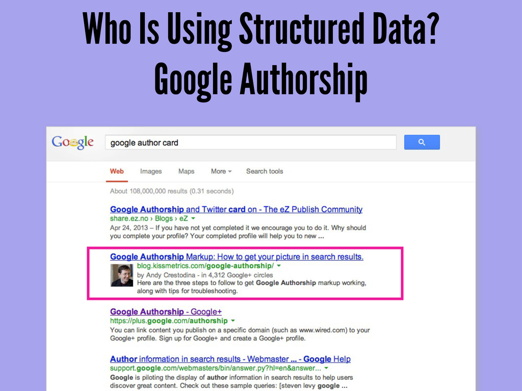 Who Is Using Structured Data? Google Authorship