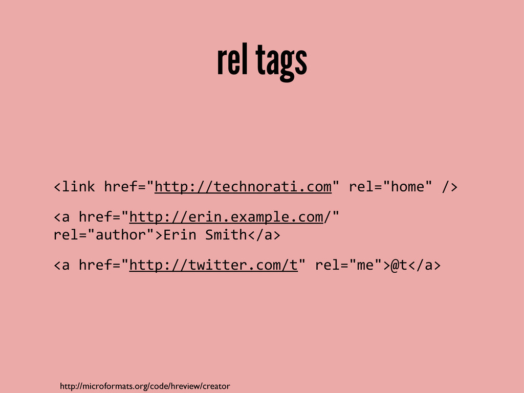 rel tags http://microformats.org/code/hreview/c...
