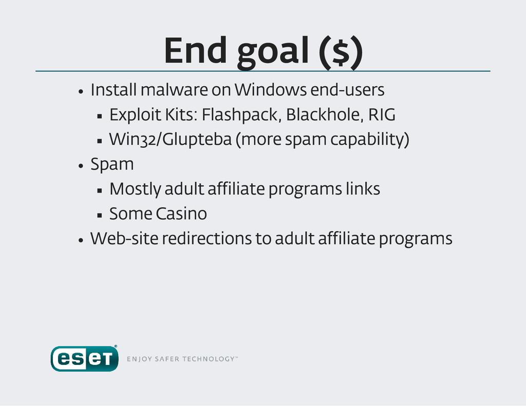 End goal ($) Install malware on Windows end us...