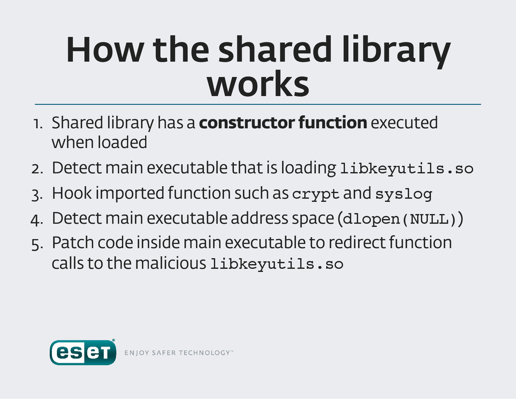 How the shared library works 1. Shared library ...