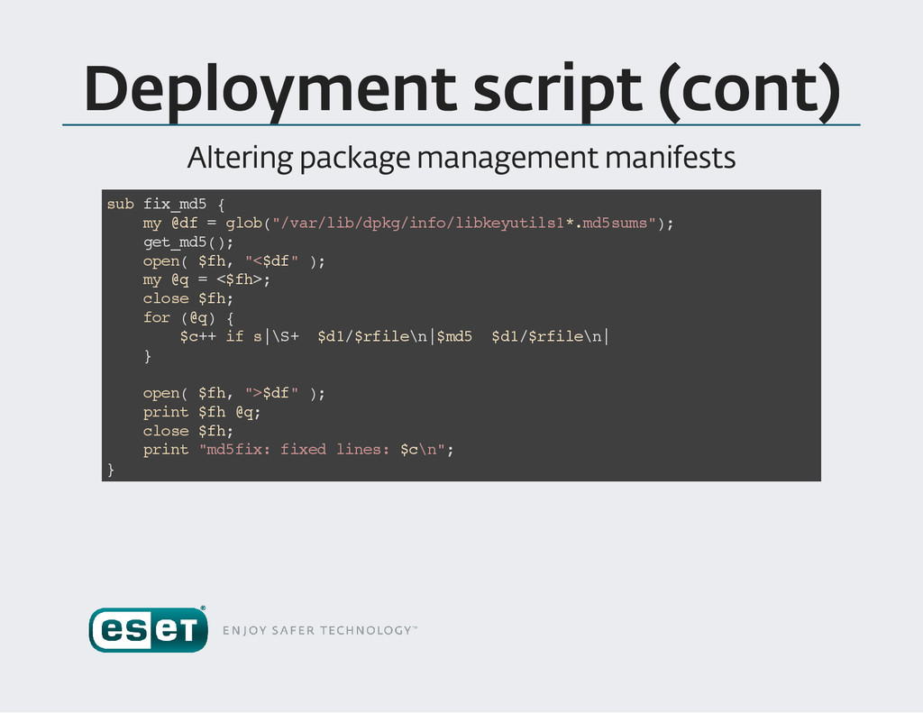 Deployment script (cont ) Altering package mana...