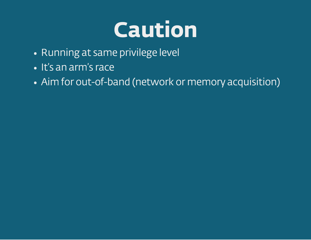 Caution Running at same privilege level It 's a...