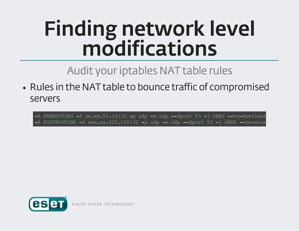 Finding network level modifications Audit your ...