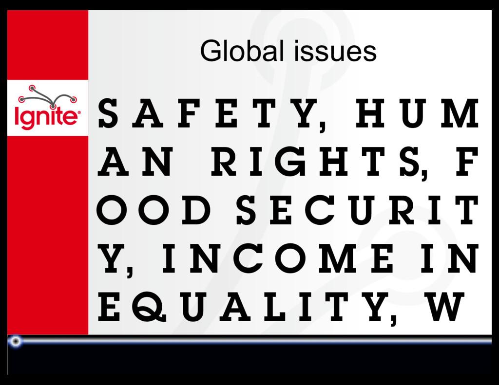 Global issues S A F E T Y, H U M A N R I G H T ...