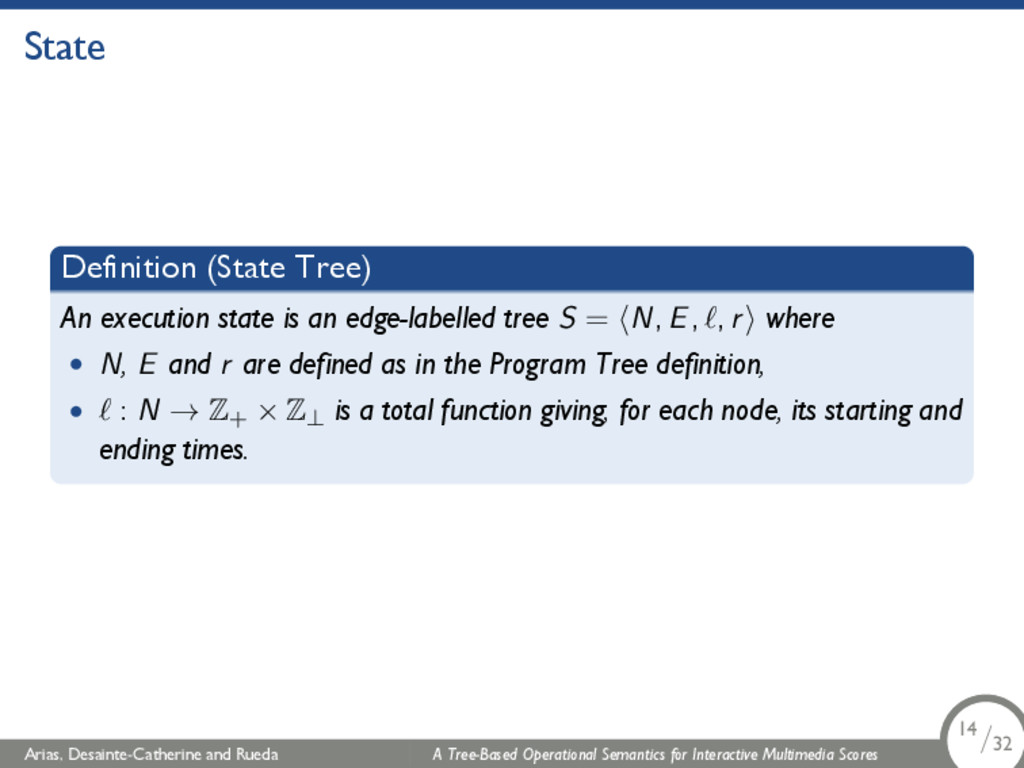 State Definition (State Tree) An execution stat...