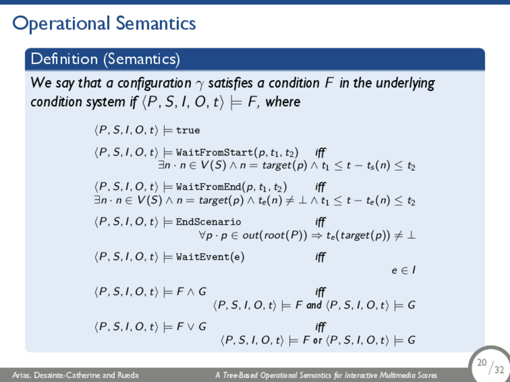 Operational Semantics Definition (Semantics) We...