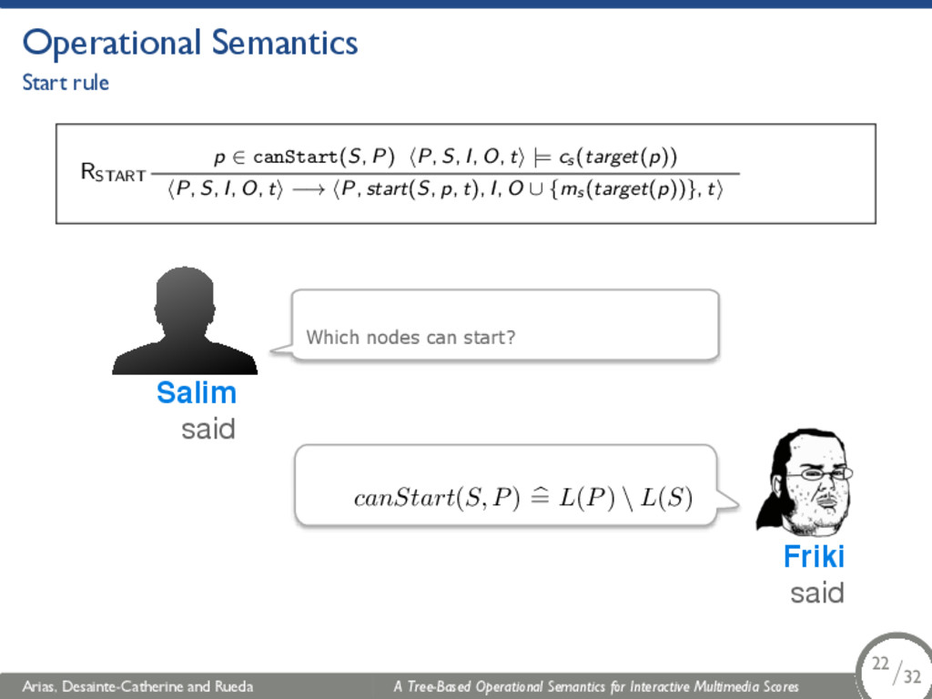 Operational Semantics Start rule RSTART p ∈ can...