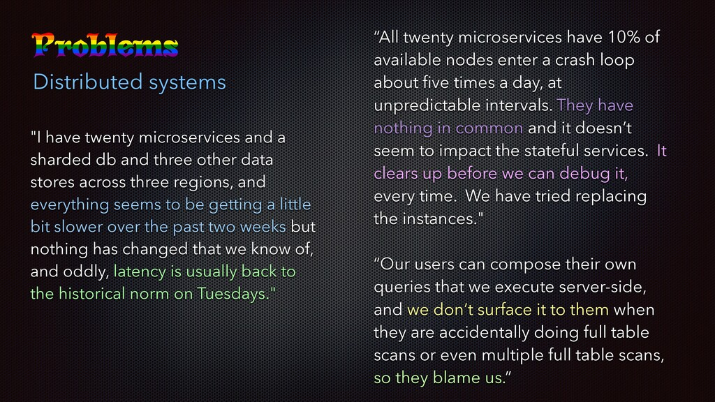 "Distributed systems ""I have twenty microservice..."