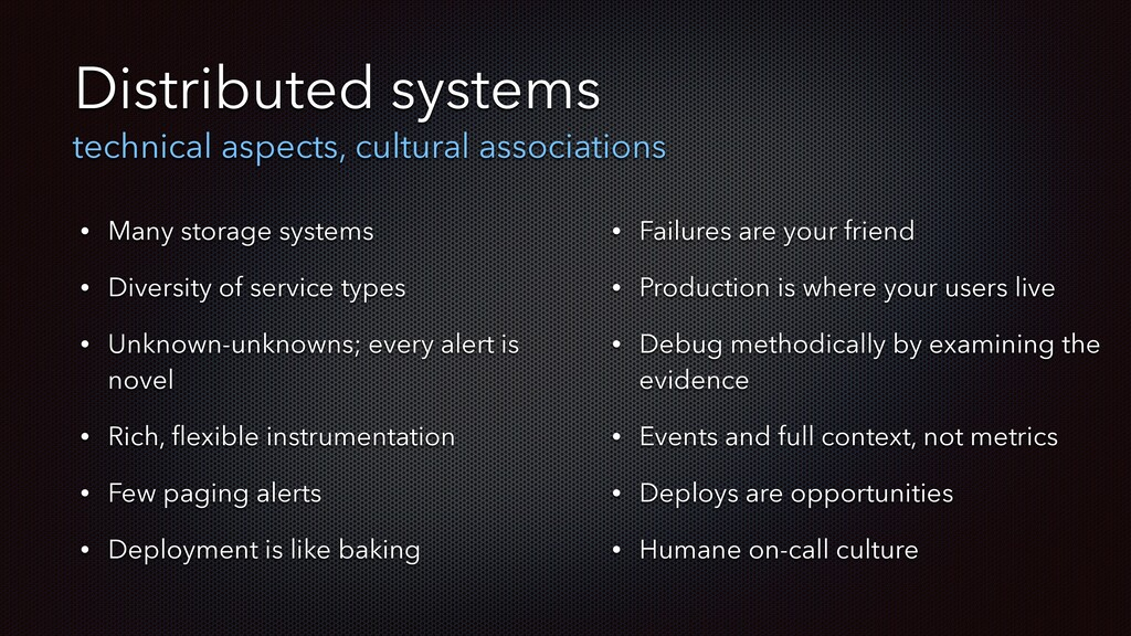 Distributed systems technical aspects, cultural...