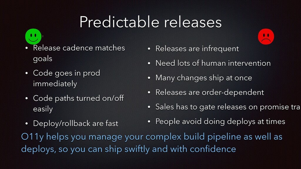 Predictable releases • Release cadence matches ...