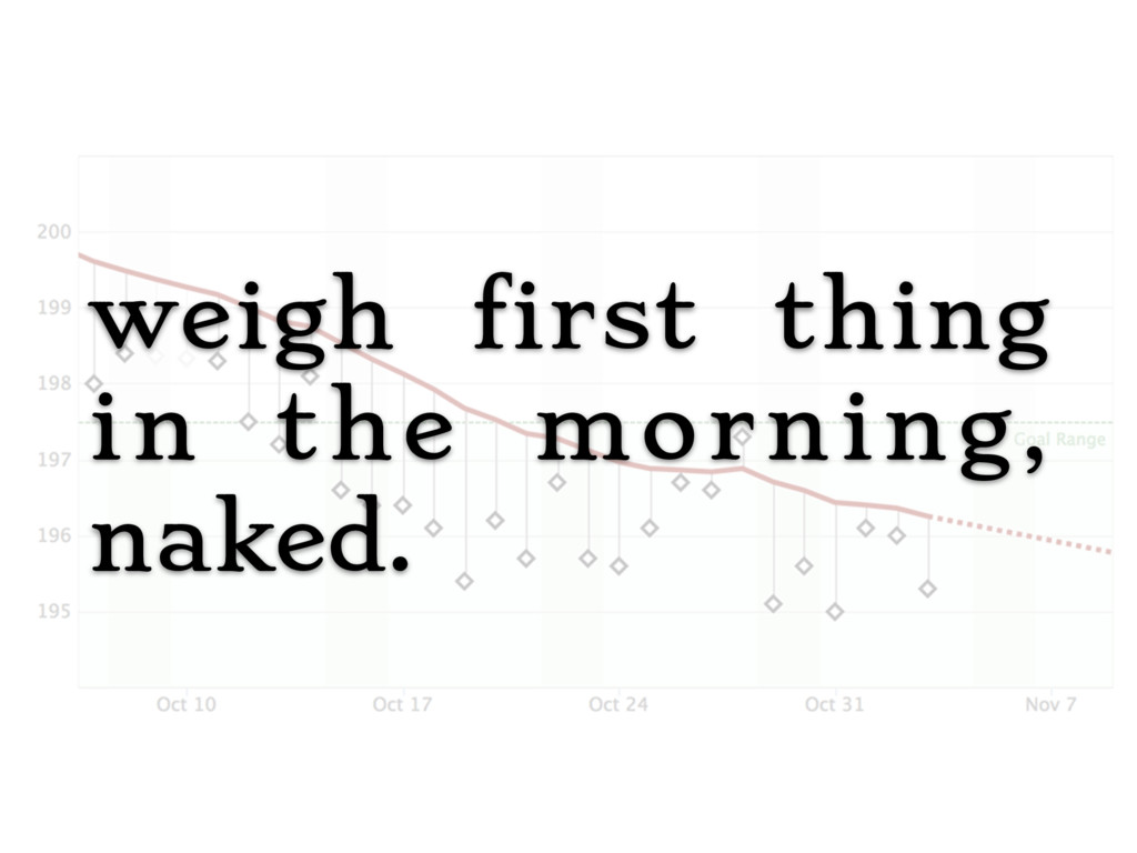 weigh first thing in the morning, naked.