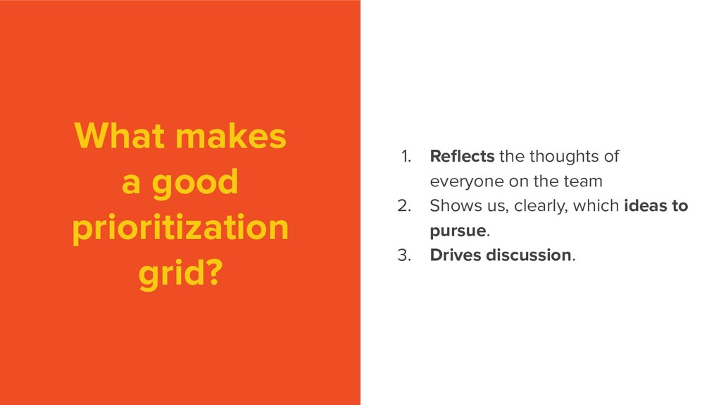 What makes a good prioritization grid? 1. Reflec...