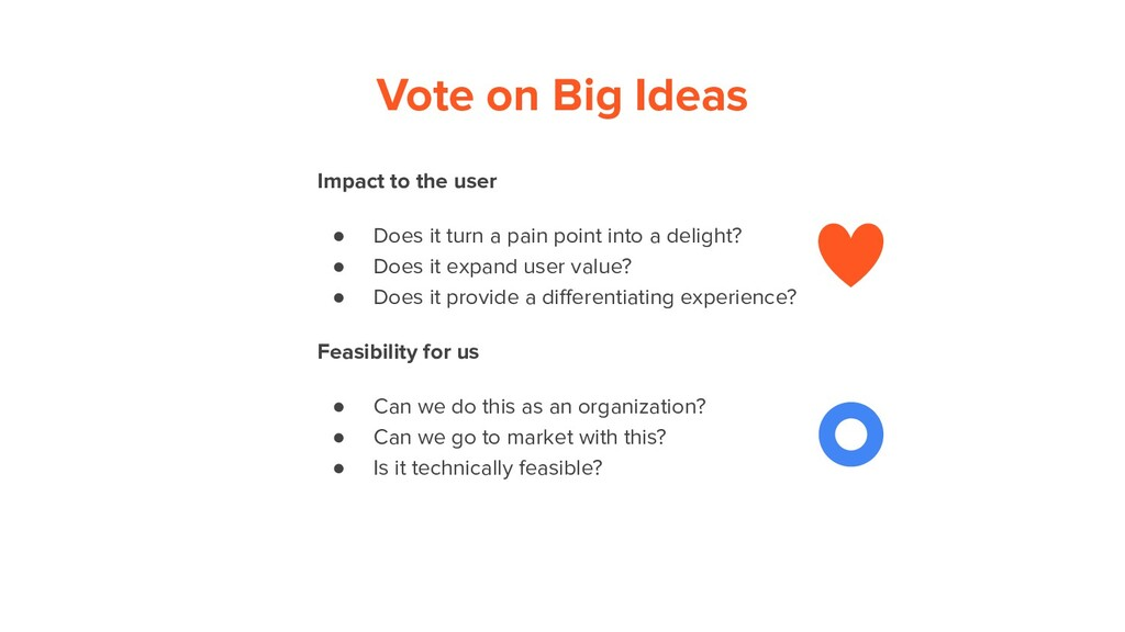 Vote on Big Ideas Impact to the user ● Does it ...