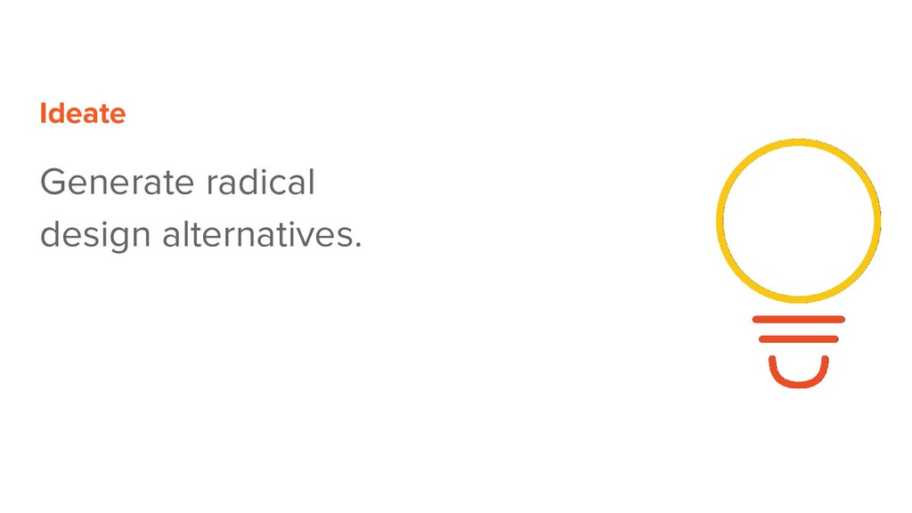 Ideate Generate radical design alternatives.