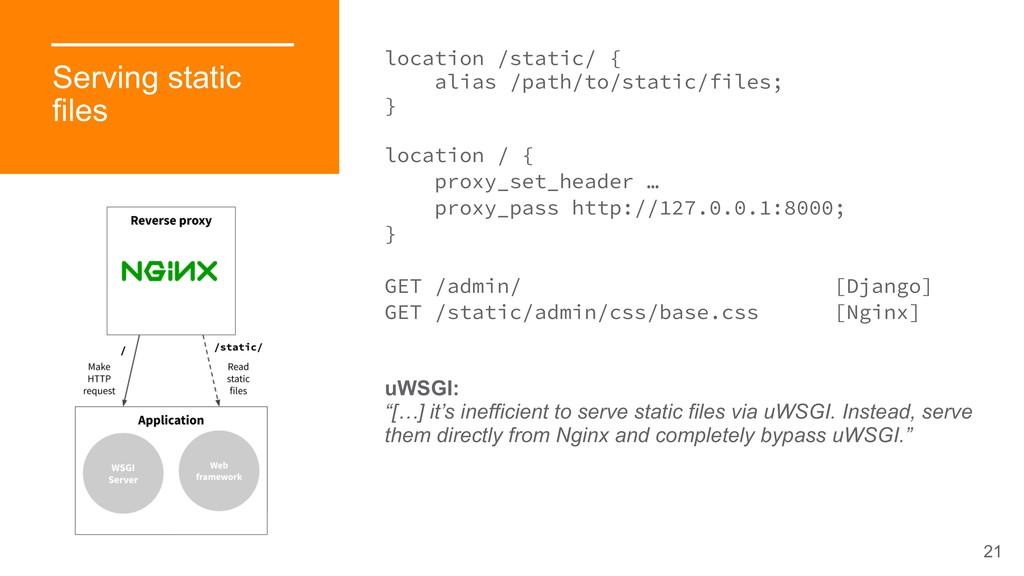 21 Serving static files location /static/ { ali...