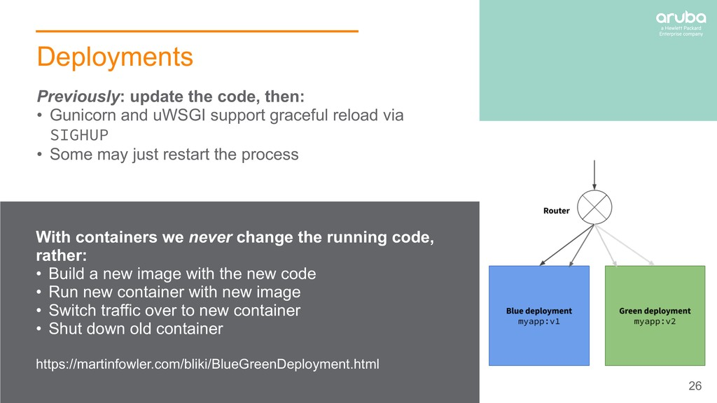 26 Deployments With containers we never change ...