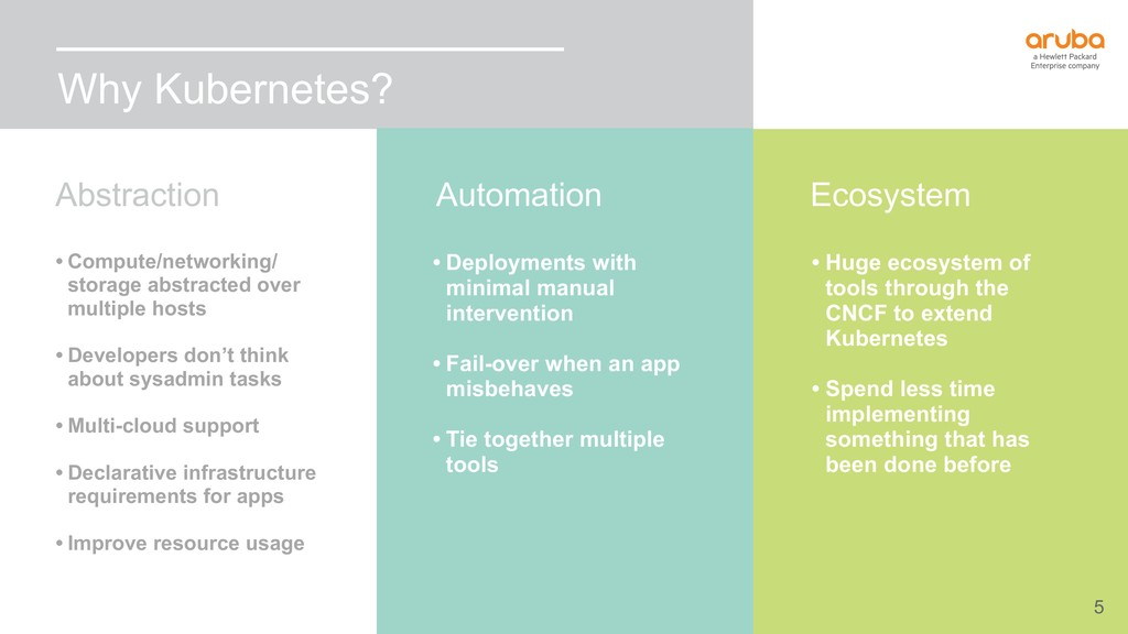 5 Why Kubernetes? • Huge ecosystem of tools thr...