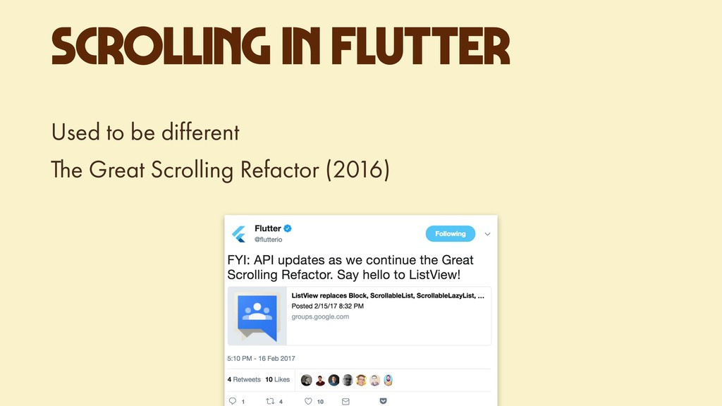 SCROLLING IN FLUTTER Used to be different The G...