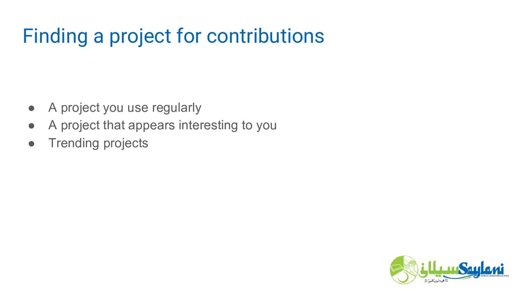 ● A project you use regularly ● A project that ...