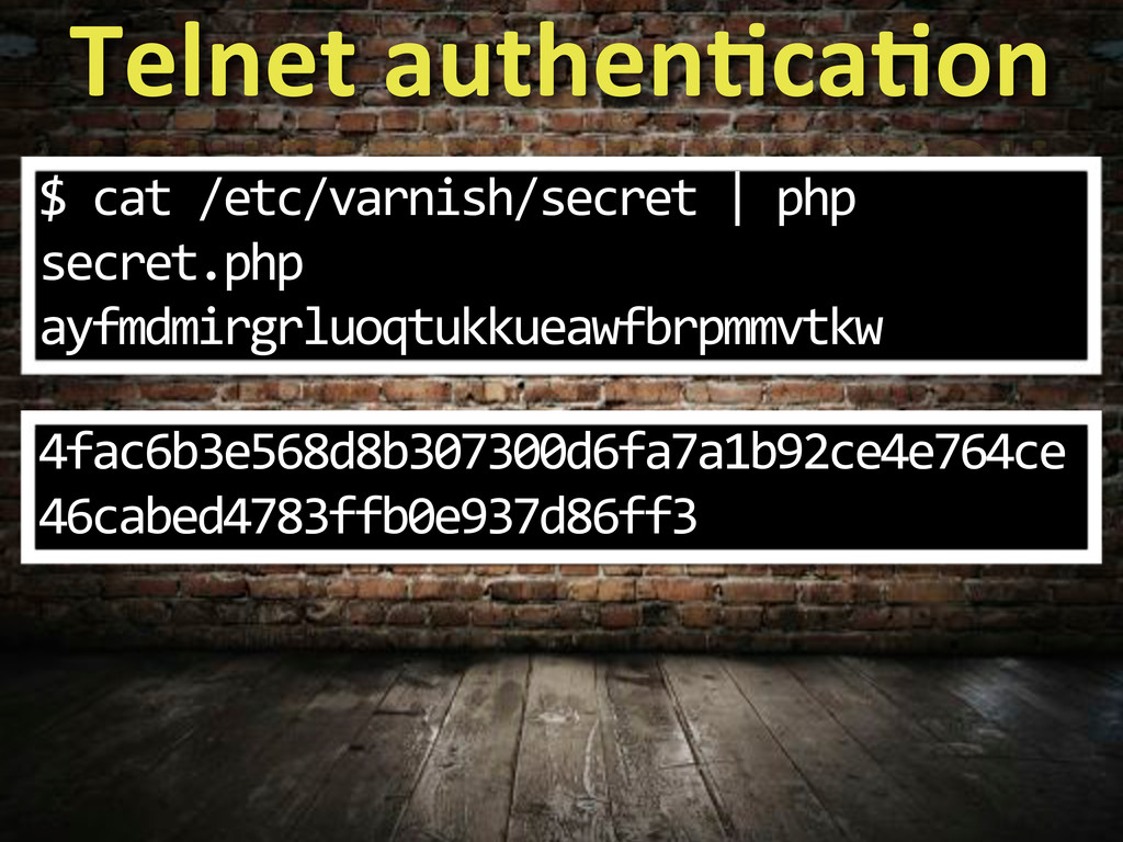 Telnet&authenWcaWon $.cat./etc/varnish/secret.|...