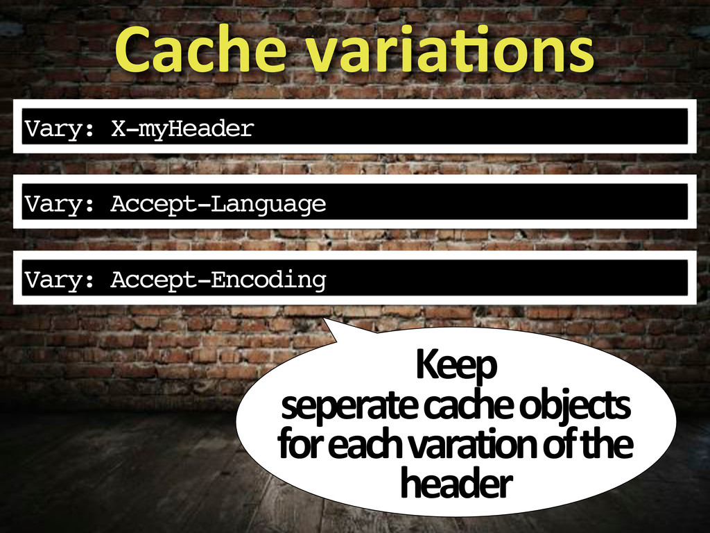 Vary: Accept-Language Cache&variaWons Keep& sep...