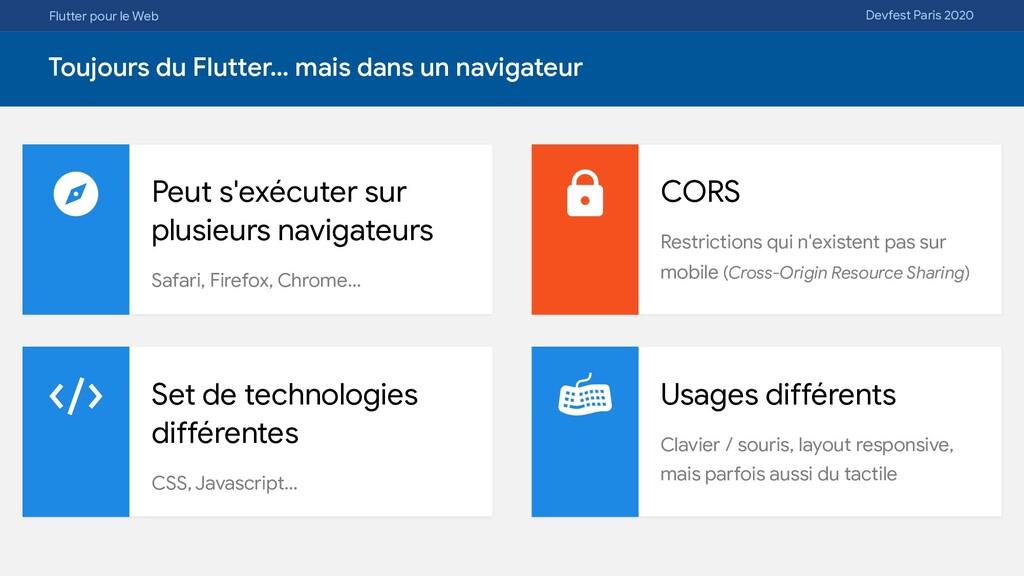 Flutter pour le Web Devfest Paris 2020 Toujours...