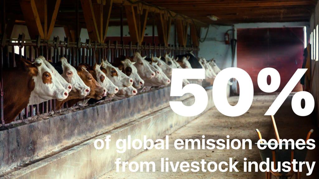 50% of global emission comes from livestock ind...