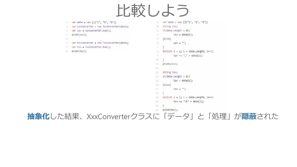 比較しよう 抽象化した結果、XxxConverterクラスに「データ」と「処理」が隠蔽された