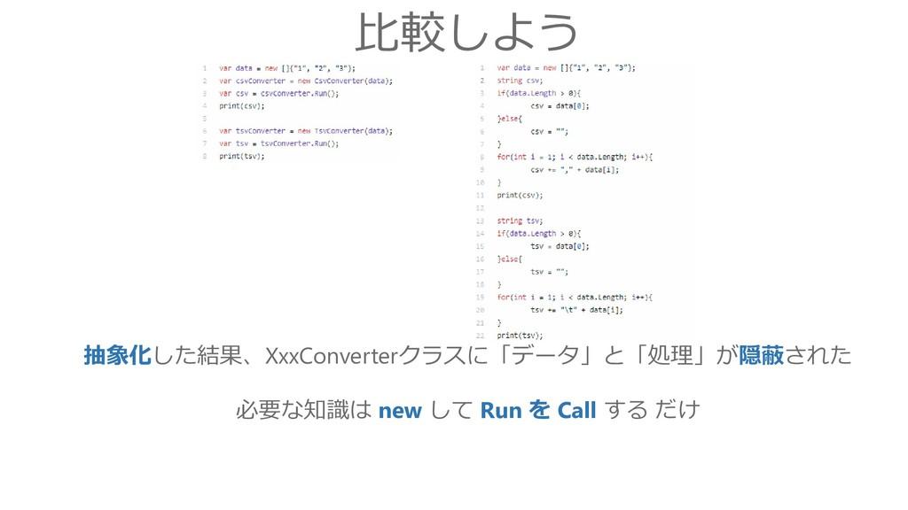 比較しよう 抽象化した結果、XxxConverterクラスに「データ」と「処理」が隠蔽された ...