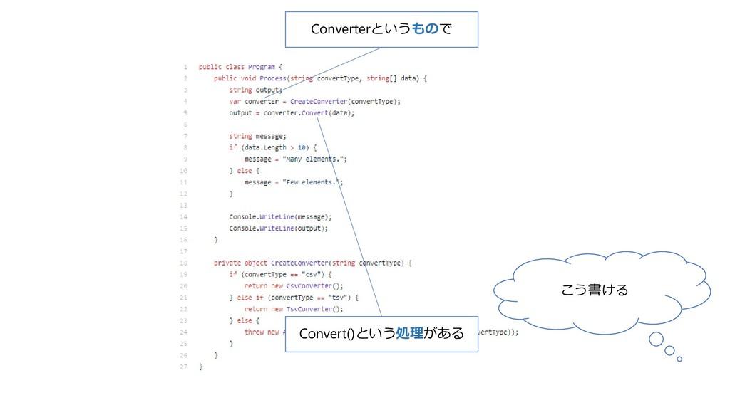 こう書ける Converterというもので Convert()という処理がある
