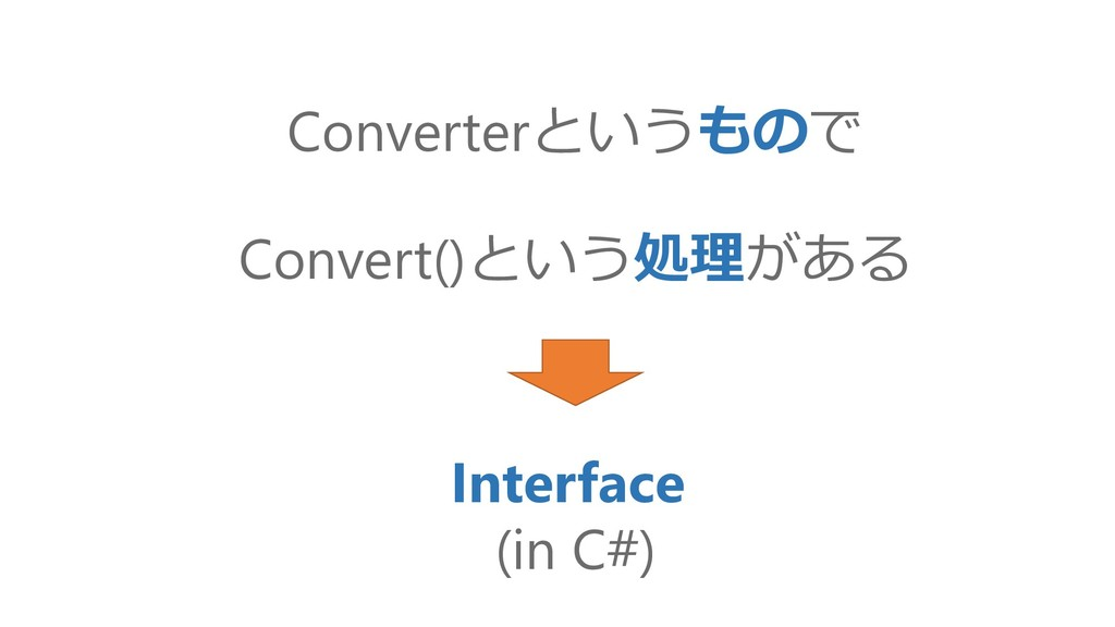 Convert()という処理がある Interface (in C#) Converterとい...