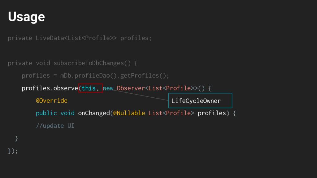 Usage private LiveData<List<Profile>> profiles;...