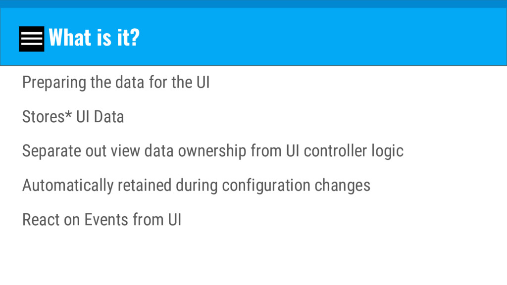 What is it? Preparing the data for the UI Store...