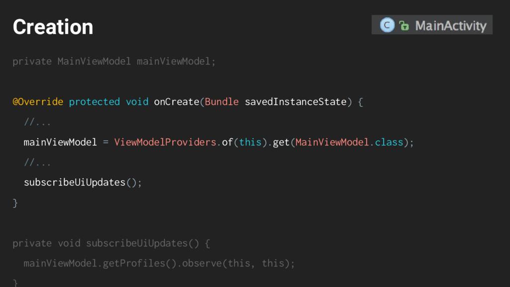 Creation private MainViewModel mainViewModel; @...