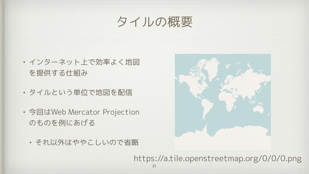 タイルの概要 • インターネット上で効率よく地図 を提供する仕組み   • タイルという単位で...