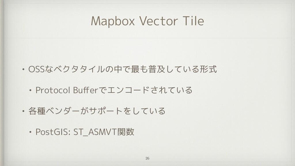 Mapbox Vector Tile • OSSなベクタタイルの中で最も普及している形式   ...