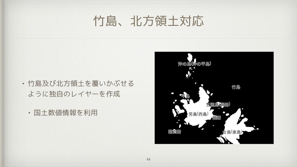 竹島、北方領土対応 • 竹島及び北方領土を覆いかぶせる ように独自のレイヤーを作成   • 国...