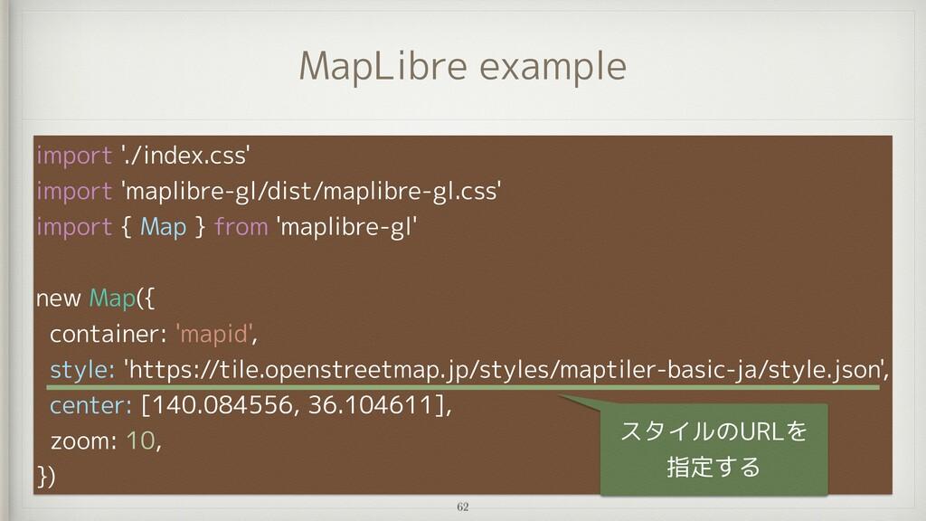 MapLibre example import './index.css'   import ...