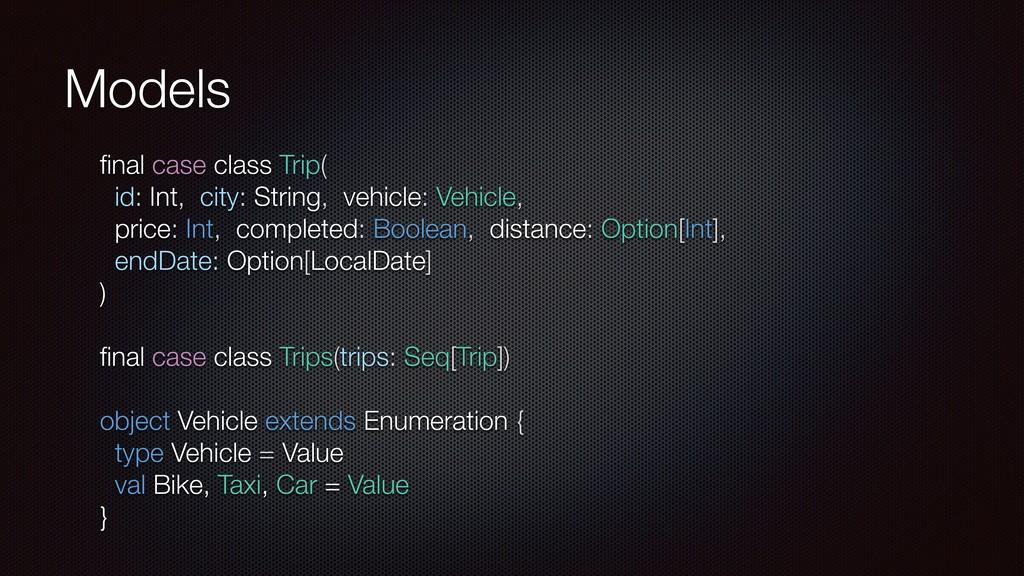 Models final case class Trip( id: Int, city: Str...