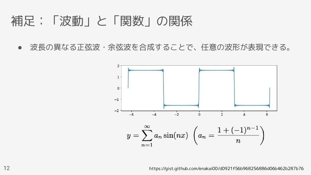 補足:「波動」と「関数」の関係 ● 波長の異なる正弦波・余弦波を合成することで、任意の波形が表...